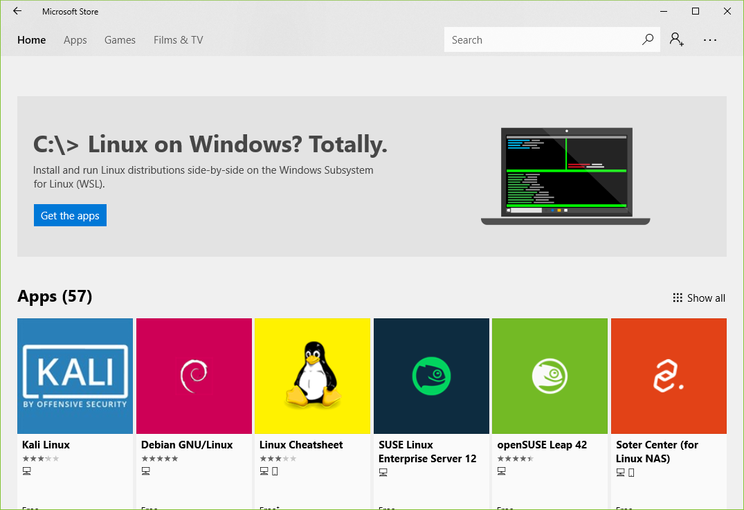 Linux on Microsoft App Store